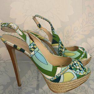 EMILIO PUCCI Multi-Color Open Toe Slingback Platform Sandal/Heels